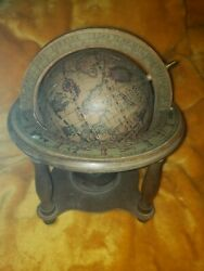 Vintage Wood Antique Old World Desk Globe With Zodiac Stand Made In Italy Zona