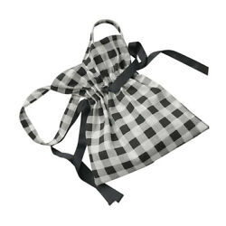 Drawstring Canvas Cross Bag Large Capacity Single Shoulder Bag Black White $18.13