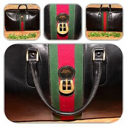 Chic Black Vintage Extra Large Soft Leather Green And Red Web Luggage