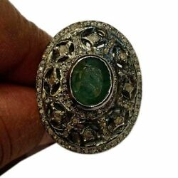 Natural Emerald 925 Sterling Silver Rose Cut Polki Diamond Jewelry Ring Js-50