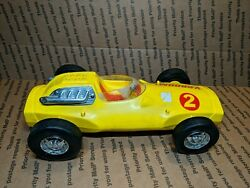 Vintage 1963 Mattel Vrroom Yellow Guide Whip Race Car 1960's Toy