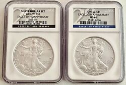 2- 2006-w 20th Anniversary American Silver Eagles Ms-69- Blue Seal And Brown Seal