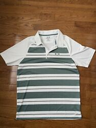 Oakley White Grey Striped Polo T Shirt Size M $15.00