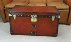 Antique Handmade Leather Occasional Side Vintage Table Trunks
