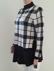 Style co Women Sweater NEW Size L Checkered Black combo Cotton Knit W2 $12.99