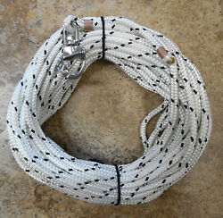 3/8 X 100 Ft. White/black Tracer Dac/polyester Halyard W/ S/s Snap Shackle