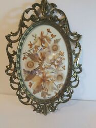 Vtg Made In Italy Small Framed Dried Flowers Cottage Core Wall Decor 8 T X 5 W