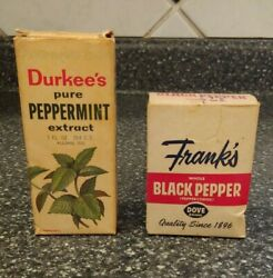 Vintage Spice Lot Box Bottle Tin Frank's Dove Durkee Extract Advertising
