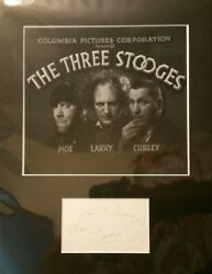 Three Stooges Autographsmoe And Larryon The Same Cardrarecomes With Coa
