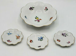 Lovely Vtg Schumann Bavaria Dresden Floral Flowers Bowl And Small Dishes-candy Nut