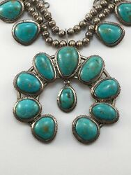 Vintage Squash Blossom Necklace Turquoise Gem Quality Native American 211 Grams❤