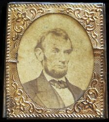 1864 Abraham Lincoln Presidential Campaign Brass Frame 28 Mm Cardboard Photo