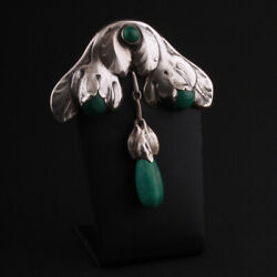 Evald Nielsen Silver Brooch With Malachite 830s. Antique. 830s. Silver. Denmark.