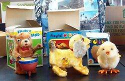Vintage Wind-up Toys Bear Puppy Chicken W/boxes - All Work