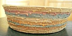Rare Antique Vintage Hand Made Coiled Multi-colored Basket Bowl