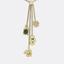 Gold Charm Necklace - Vintage 9ct Yellow Gold Ship Ahoy Charm Necklace