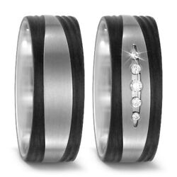 Pair Wedding Ring Engagement Ring Made From Titanium/carbon With Diamond