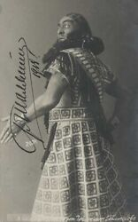 Antique Soviet Postcard Signed By Chaliapin Chaliapin In Stage Costume.1918