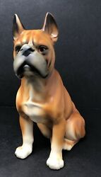 Vintage Large Hand Painted Porcelain Ceramic Brown Sitting Boxer Dog Figurine