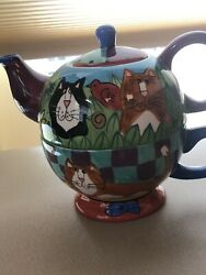 Catzilla 3 Piece Teapot And Cup - 2001 - Candace Reiter Design