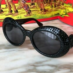 Gianni Versace Sunglasses 418/f Col. 852 Black W/ Crystals From Ss 1996