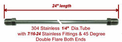 1/4 Brake Line 24 Inch Stainless Steel 7/16-24 Tube Nuts 45 Degree Double Flare