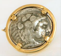 Vintage 14k Yellow Gold Ancient Greek Silver Coin Alexander The Great Pendant