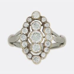 Art Deco1.00 Carat Diamond Marquise Cluster Ring 18ct White Gold