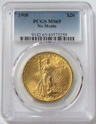 1908 Gold Usa 20 St Gaudens Double Eagle No Motto Pcgs Mint State 65