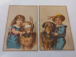 Set Of 2 Boy And Girl Playing With Dog Original Victorian Trade Cards
