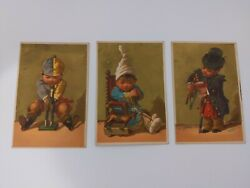 Set Of 3 Victorian Trade Cards Of A Little Boy Playing With A Toy Horse C. 1880s