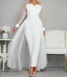 Women Ladies Notch Neck Long Sleeve Button Front Jumpsuit With Mesh Skirt