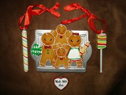 Christmas Personalized Gingerbread Family 4 Glass Candy Figure Tree Ornament Lot