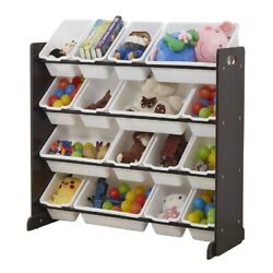 Wooden Kids#x27; Toy Storage Organizer with 16 Plastic Bins X Large Espresso White