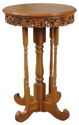 20th Century Chinese Carved Elm Round Pedestal Side Table Plant Stand Display