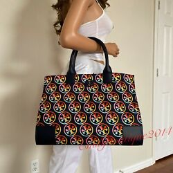 NWT TORY BURCH LOGO PRINTED ELLA NYLON NAVY BLUE LEATHER LARGE TOTE SHOULDER BAG $179.00