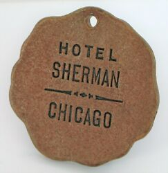 Antique Historic Hotel Sherman Chicago Illinois Leather Hotel Room Key Fob Tag