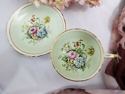 Paragon By Appointment Fine Bone China Tea Cup And Saucer Set-rare Cabbage B-289