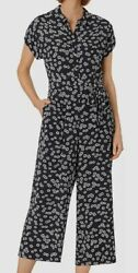 669 Hobbs London Womenand039s Blue White Floral Sash Belted Culotte Inez Jumpsuit 4