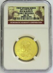 2013 W Gold 10 Ida Mckinley Spouse 1/2 Oz 2,008 Minted Ngc Ms 70 Early Releases