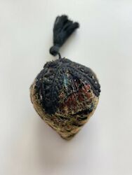 Pin Cushion Multi-color Velvet With Black Lace Top And Tassel And Bead Detail