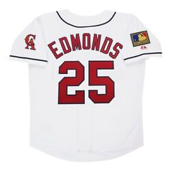Jim Edmonds 1994 California Angels Menand039s Home White Jersey W/ 125th Patch