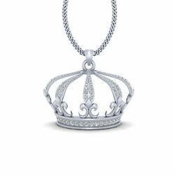 Diamond King Crown Pendant Necklace Hip Hop King Crown Necklace Sterling Silver