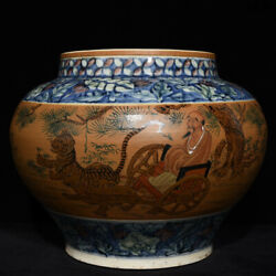 Old Antique China Song Dynasty Blue And White Historical Figure Tiger Jar