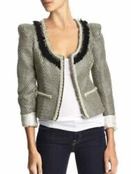 Aryn K. Fitted Tweed Jacket W/beaded Pearl Trim - Size S