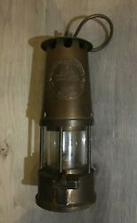 1974 Brass Mandq Protector Lamp And Lighting Co Eccles Type 6 Mining Miners Lamp