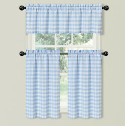 Country Farmhouse Blue Plaid Gingham 3 Pc Kitchen Curtain Tier And Valance Set