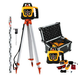 Ridgeyard 500m Self-leveling Red Laser Level 360 Rotating Rotary W/ Tripod Staff