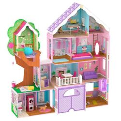 Kidkraft Wooden Dollhouse, 4 Level Treehouse Retreat Mansion, 26 Pieces, Age 3+