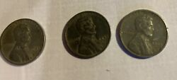 3 Coin Set 1943 Pds Steel War Penny B,d, And S Mints Free Shipping Free In The Us